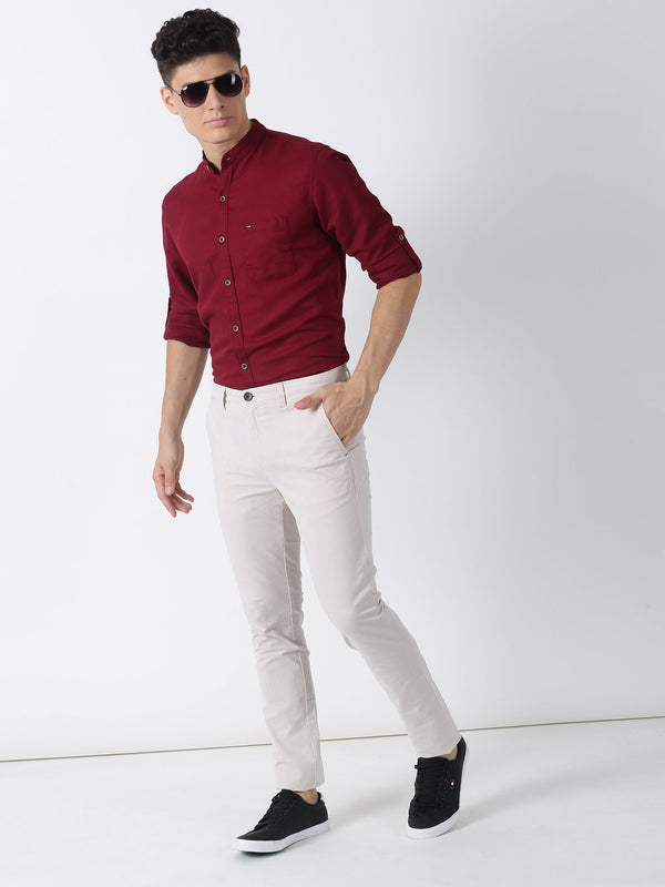 Cream Plain Ultra Slim Fit Trouser