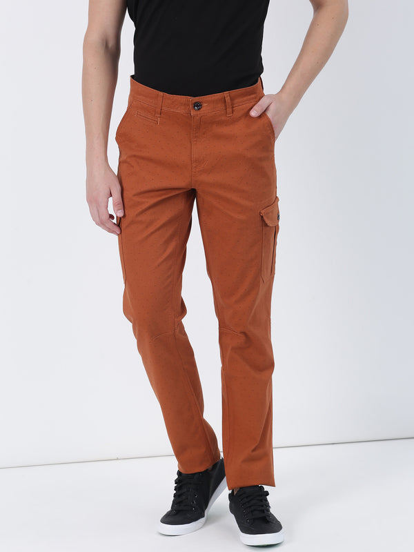 Orange Printed Lean Fit Cargo Trouser