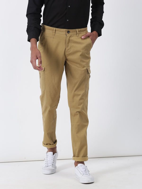 Khaki Printed Lean Fit Cargo Trouser