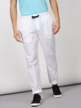 White Plain Casual Track Pant