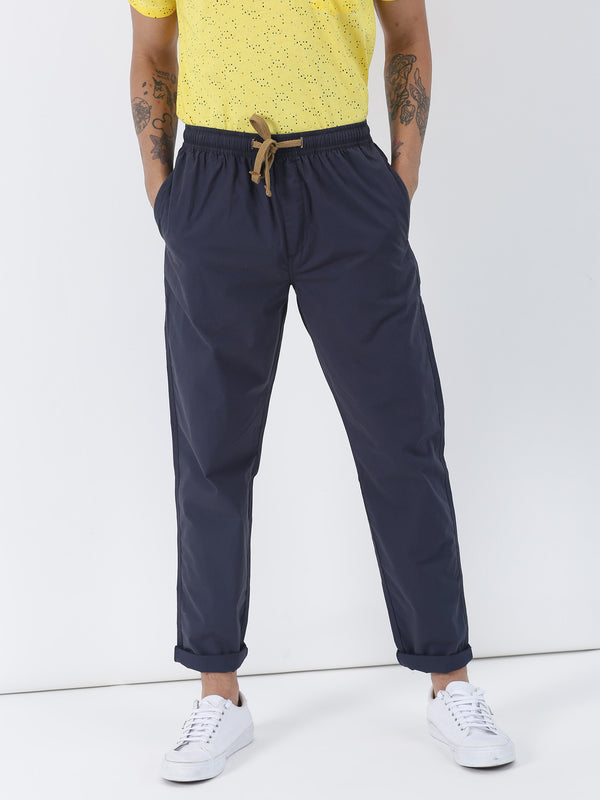 Dark Grey Plain Casual Track Pant