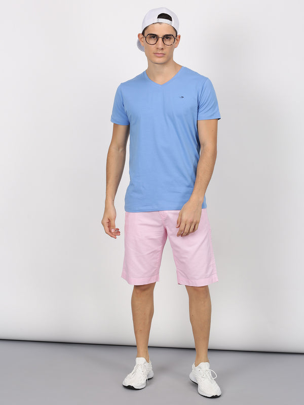 Baby Pink Plain Casual Short