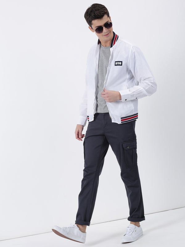 Navy Plain Lean Fit Cargo Trouser