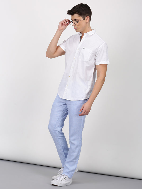 Blue Plain Lean Fit Trouser