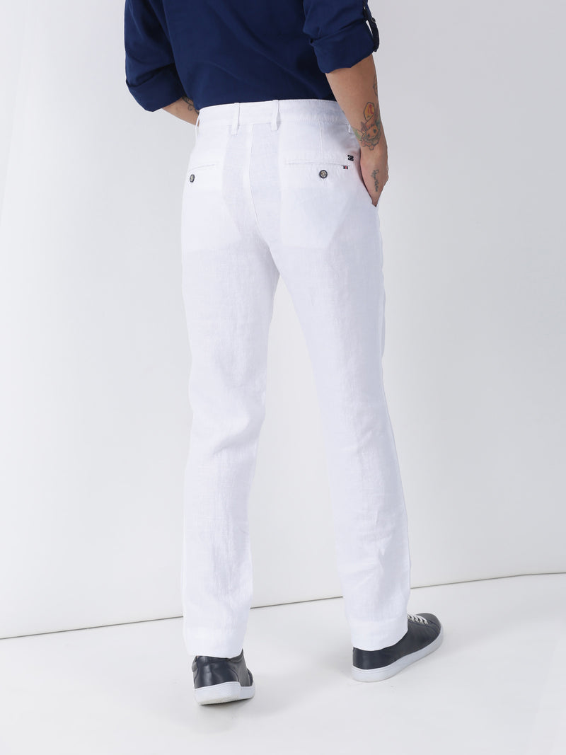 White Plain Lean Fit Trouser