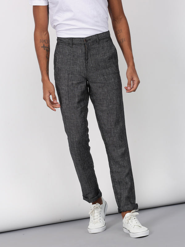 Black Plain Lean Fit Trouser