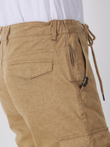 Beige Printed Casual Fit Cargo Trouser