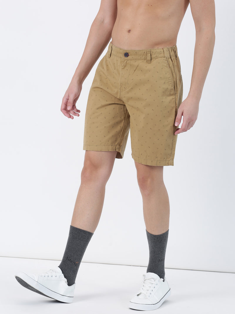 Khaki Plain Casual Short