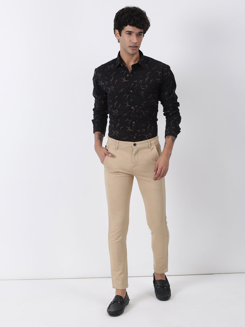 Fawn Printed Ultra Slim Fit Trouser