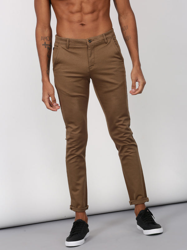 Khaki Printed Ultra Slim Fit Trouser