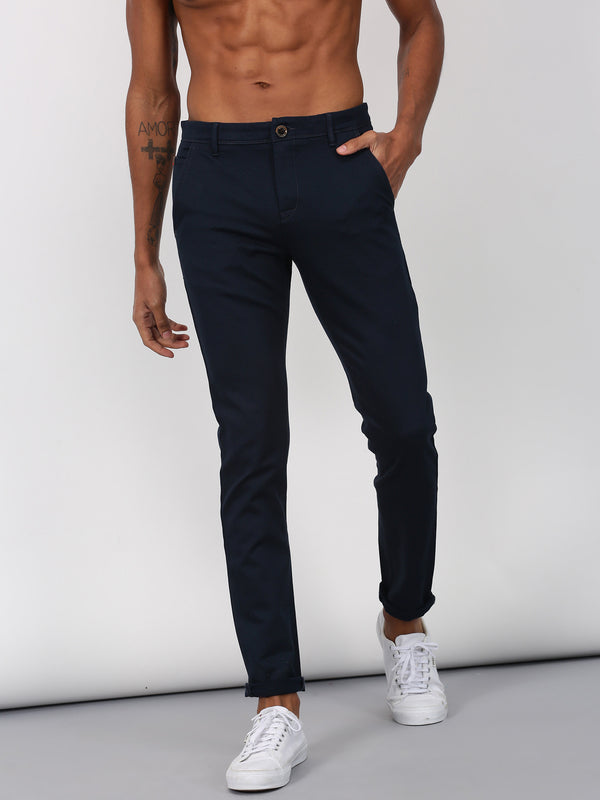 Navy Printed Ultra Slim Fit Trouser