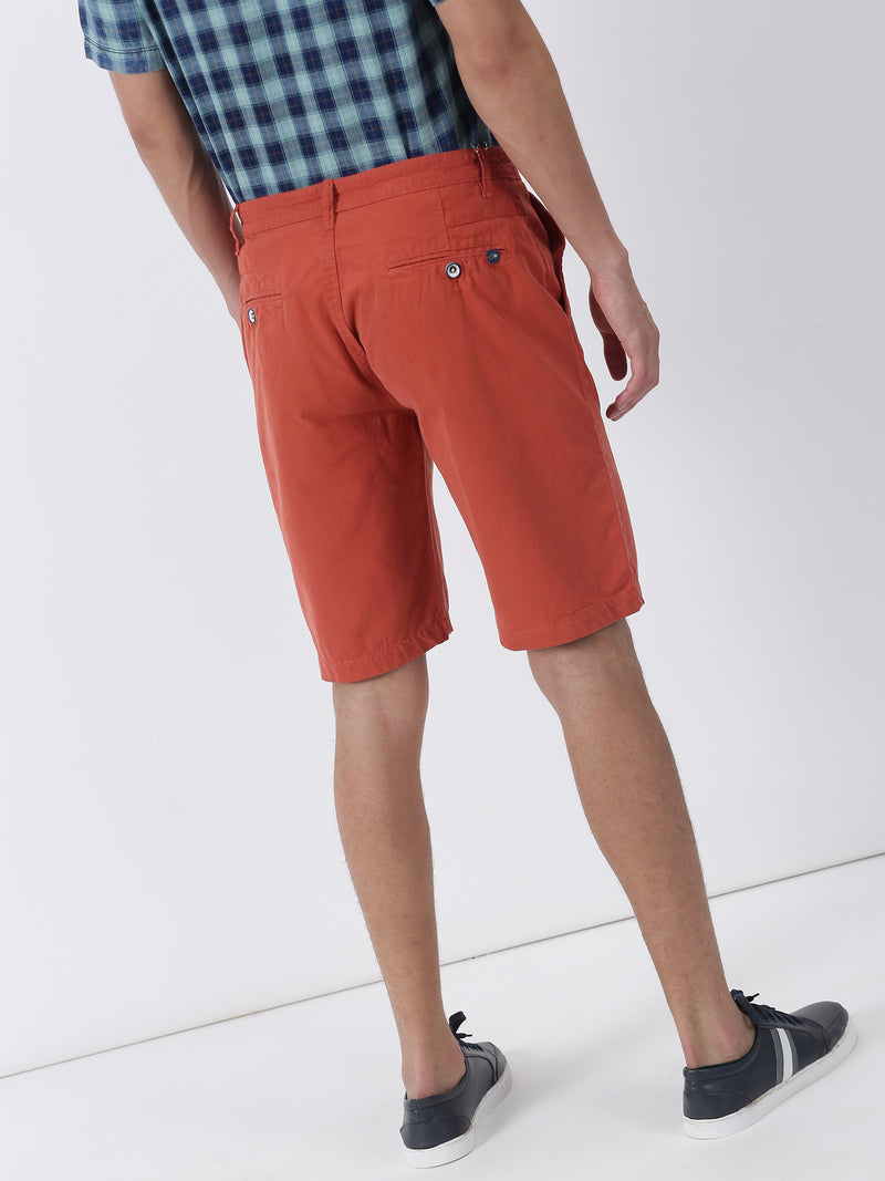 Red Plain Casual Short