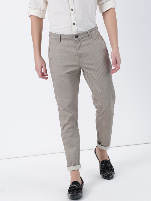 Beige Printed Ultra Slim Fit Trouser
