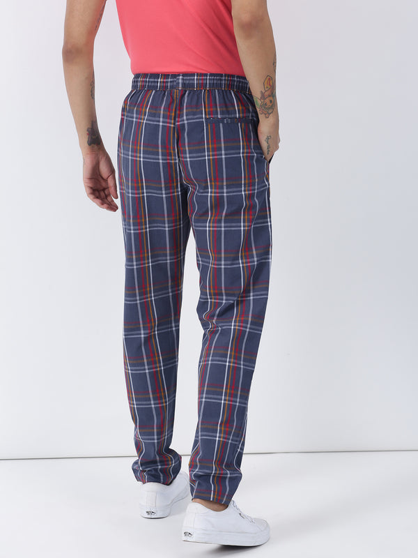 Blue Checked Casual Track Pant