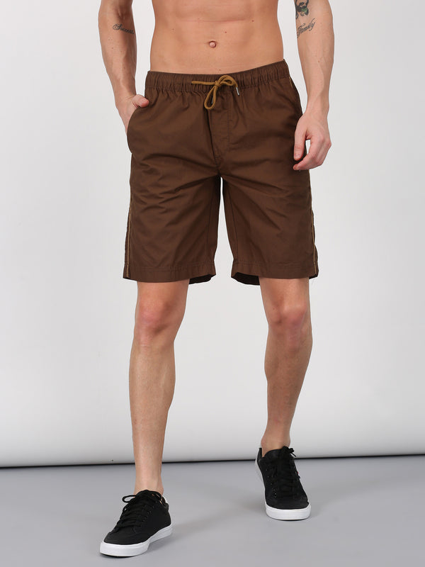 Brown Plain Casual Short