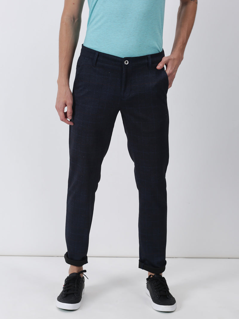 Navy Checked Ultra Slim Fit Trouser