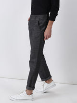 Black Checked Lean Fit Trouser