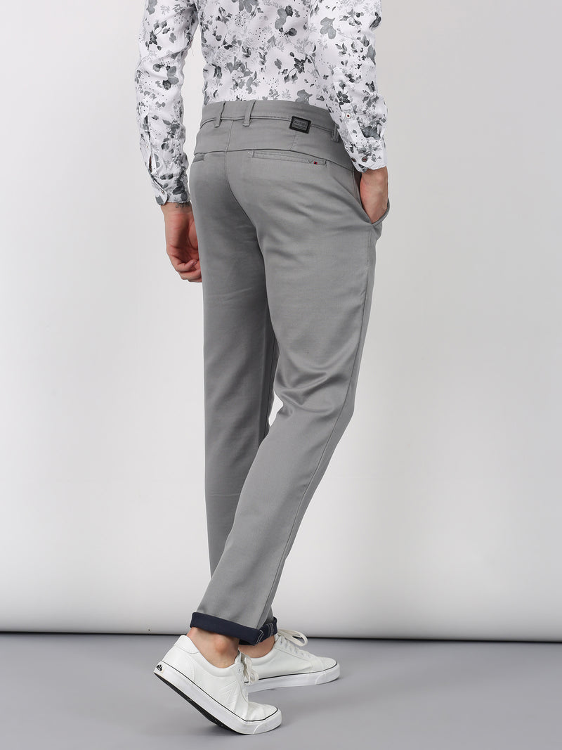 Grey Plain Lean Fit Trouser