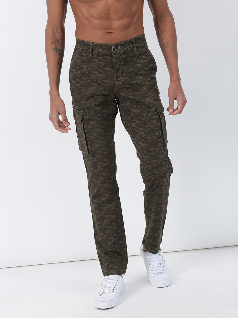 Olive Printed Lean Fit Cargo Trouser