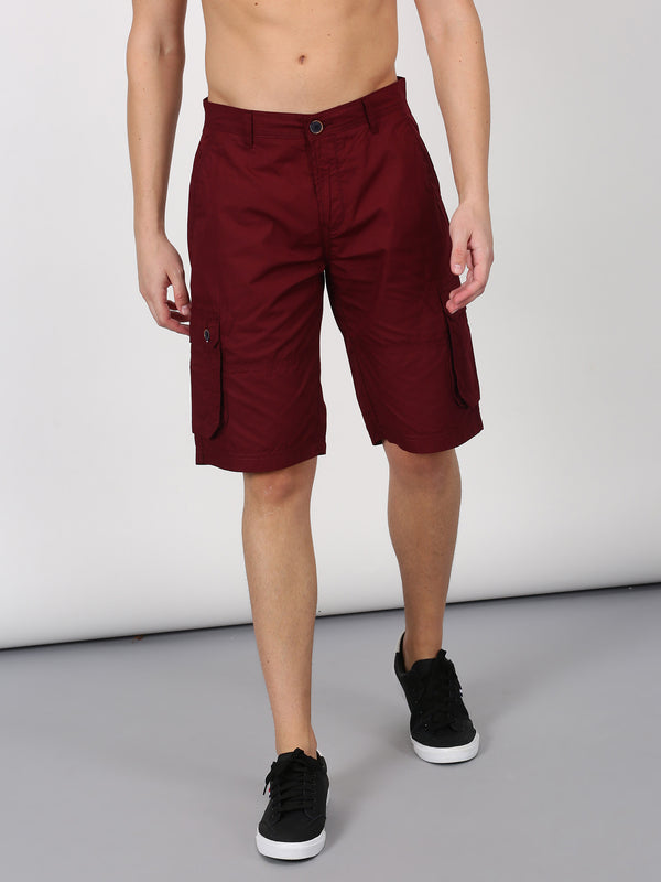 Maroon Plain Casual Cargo Short