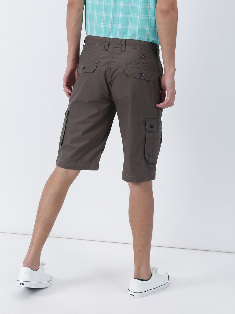 Olive Plain Casual Cargo Short