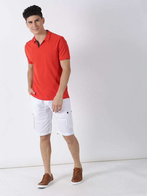 White Plain Casual Cargo Short