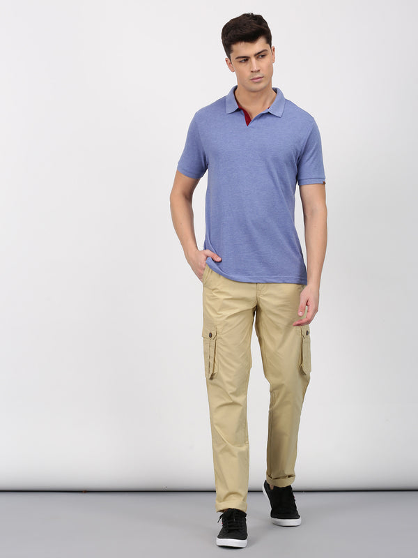 Khaki Plain Lean Fit Cargo Trouser