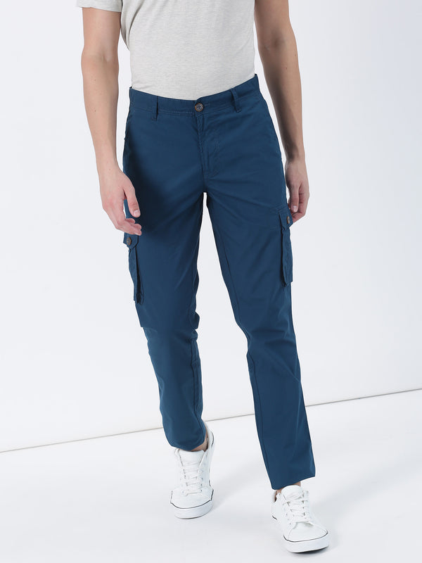 Teal Plain Lean Fit Cargo Trouser