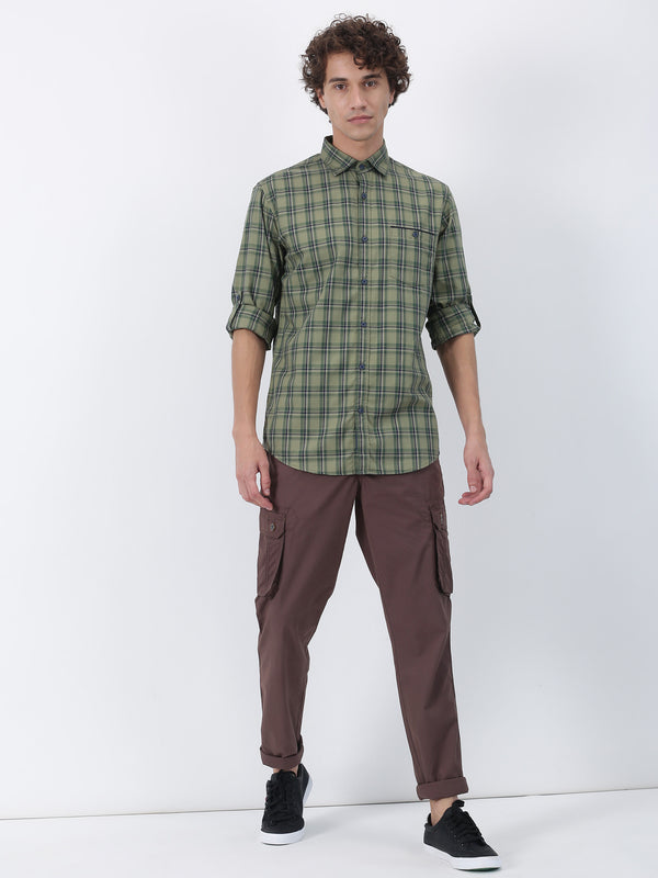Brown Plain Lean Fit Cargo Trouser