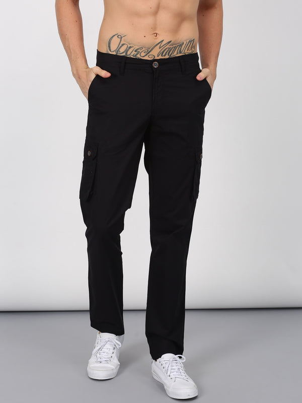 Black Plain Lean Fit Cargo Trouser