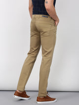 Beige Plain Lean Fit Trouser