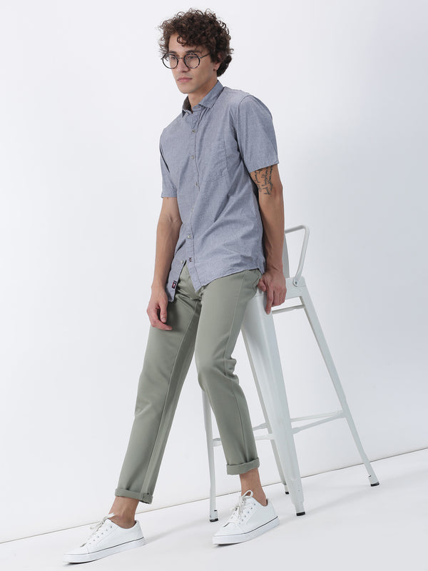 Green Plain Lean Fit Trouser