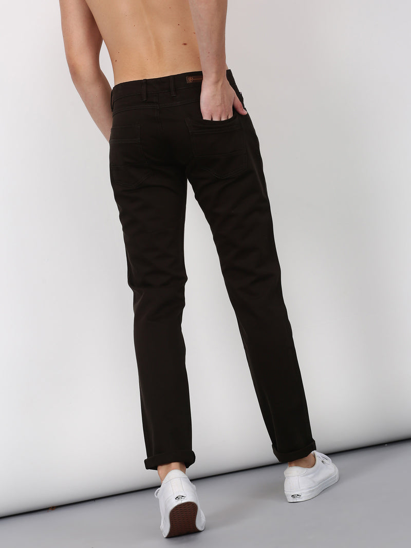 Dark Olive Plain Lean Fit Trouser