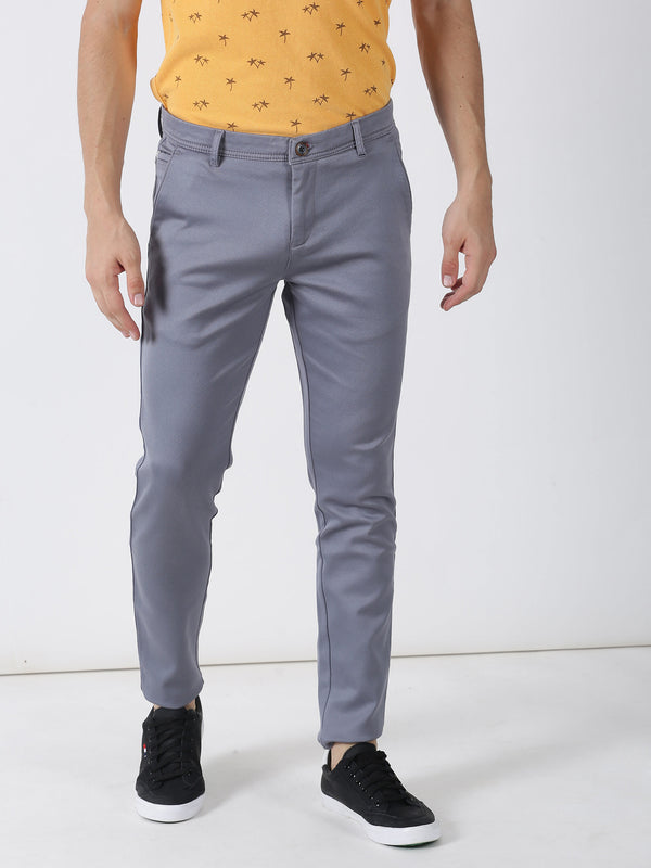 Blue Printed Ultra Slim Fit Trouser