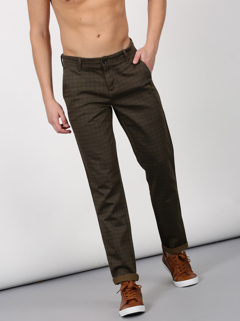 Brown Checked Lean Fit Trouser