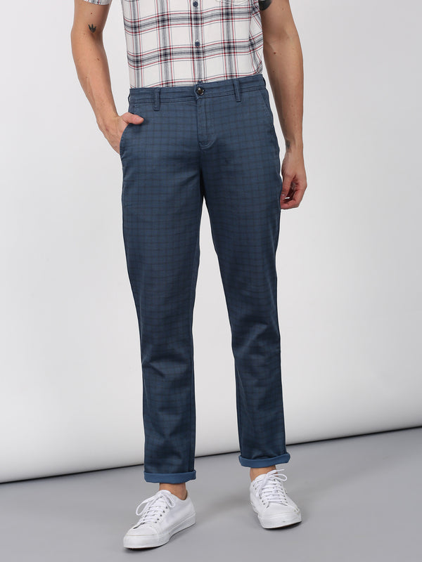 Navy Printed Lean Fit Trouser