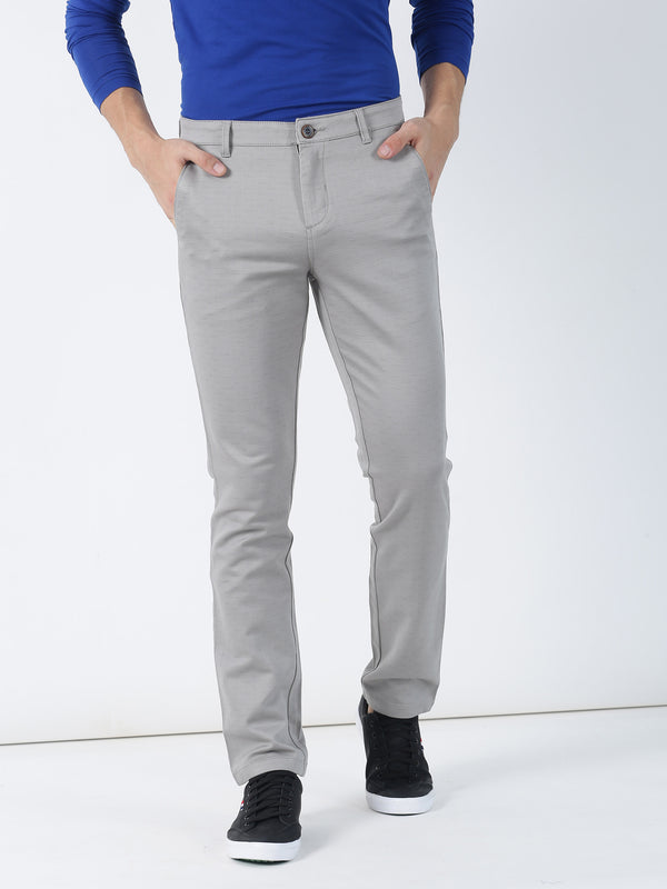 Light Grey Plain Lean Fit Trouser