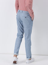 Sky Blue Plain Lean Fit Trouser