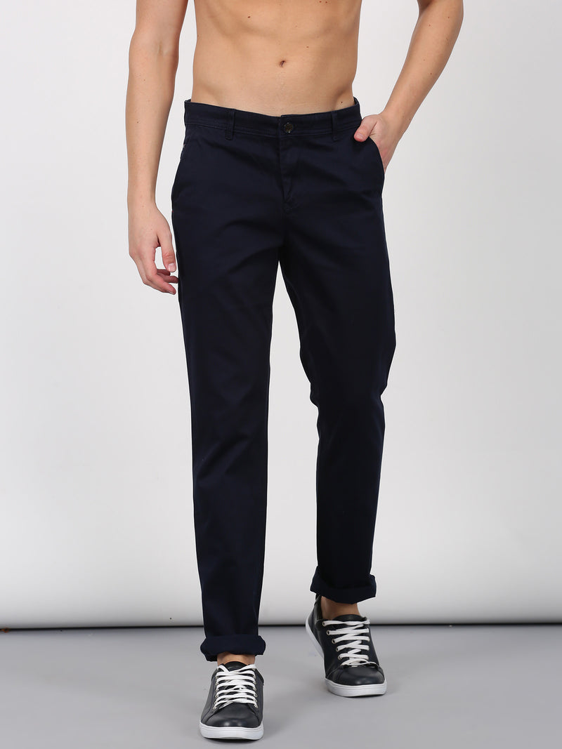 Navy Plain Lean Fit Trouser
