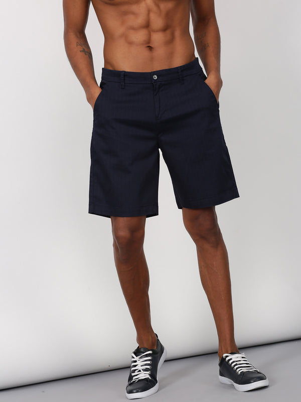 Navy Striped Casual Short
