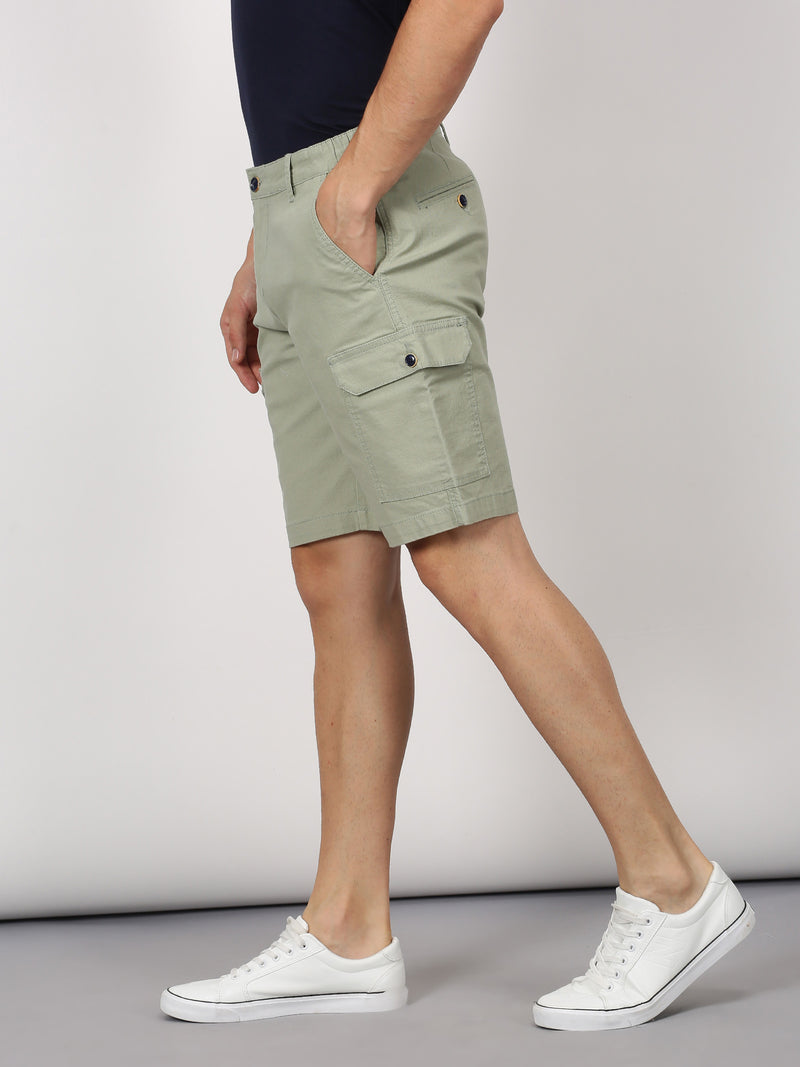 Green Plain Casual Cargo Short