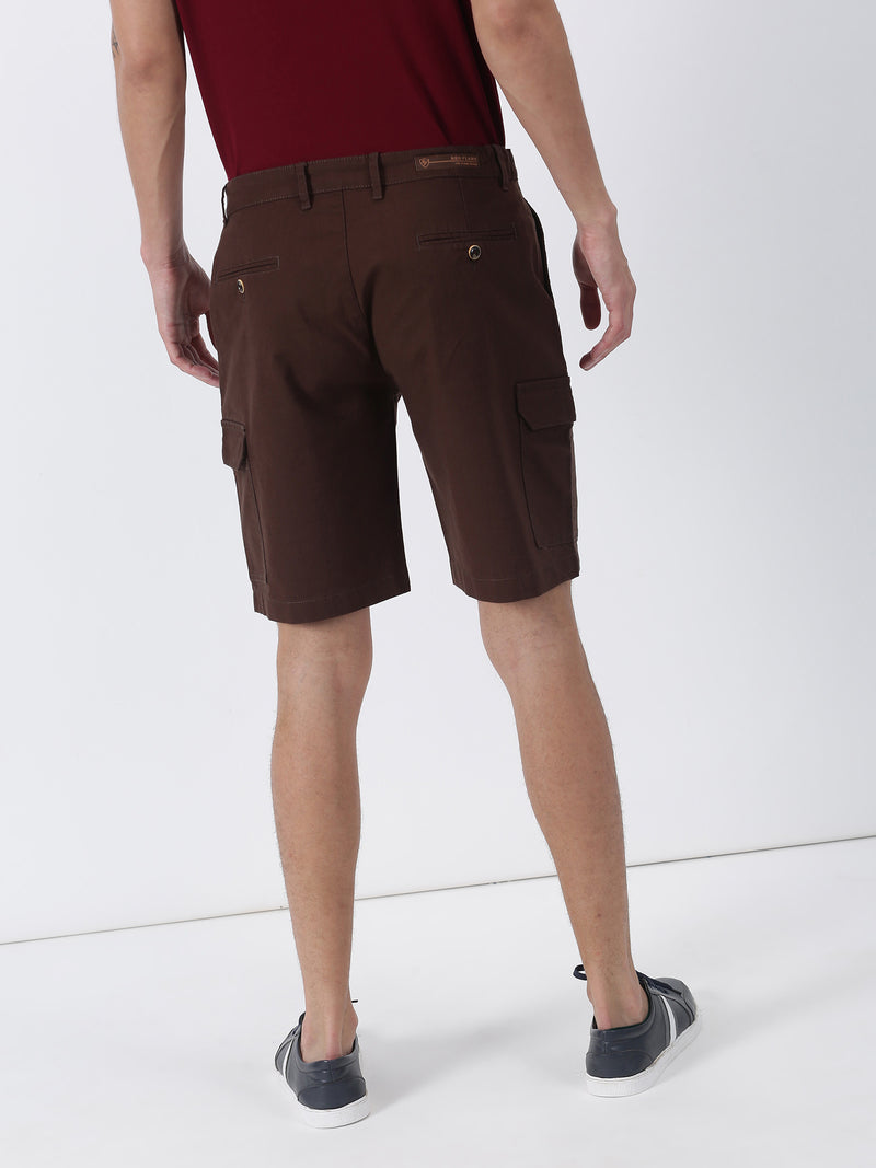 Brown Plain Casual Cargo Short
