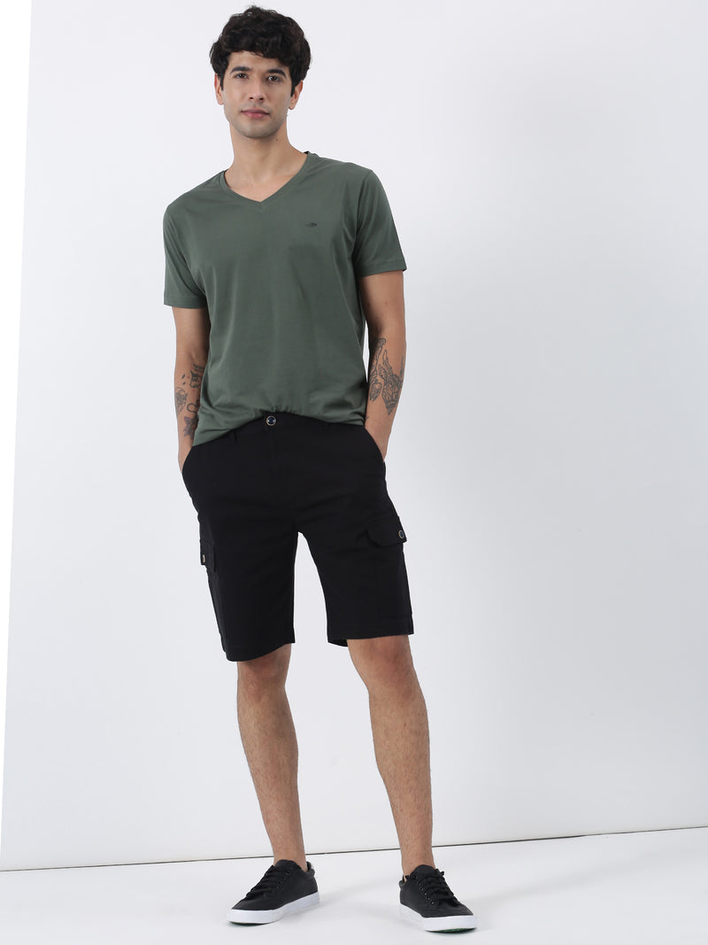Black Plain Casual Cargo Short