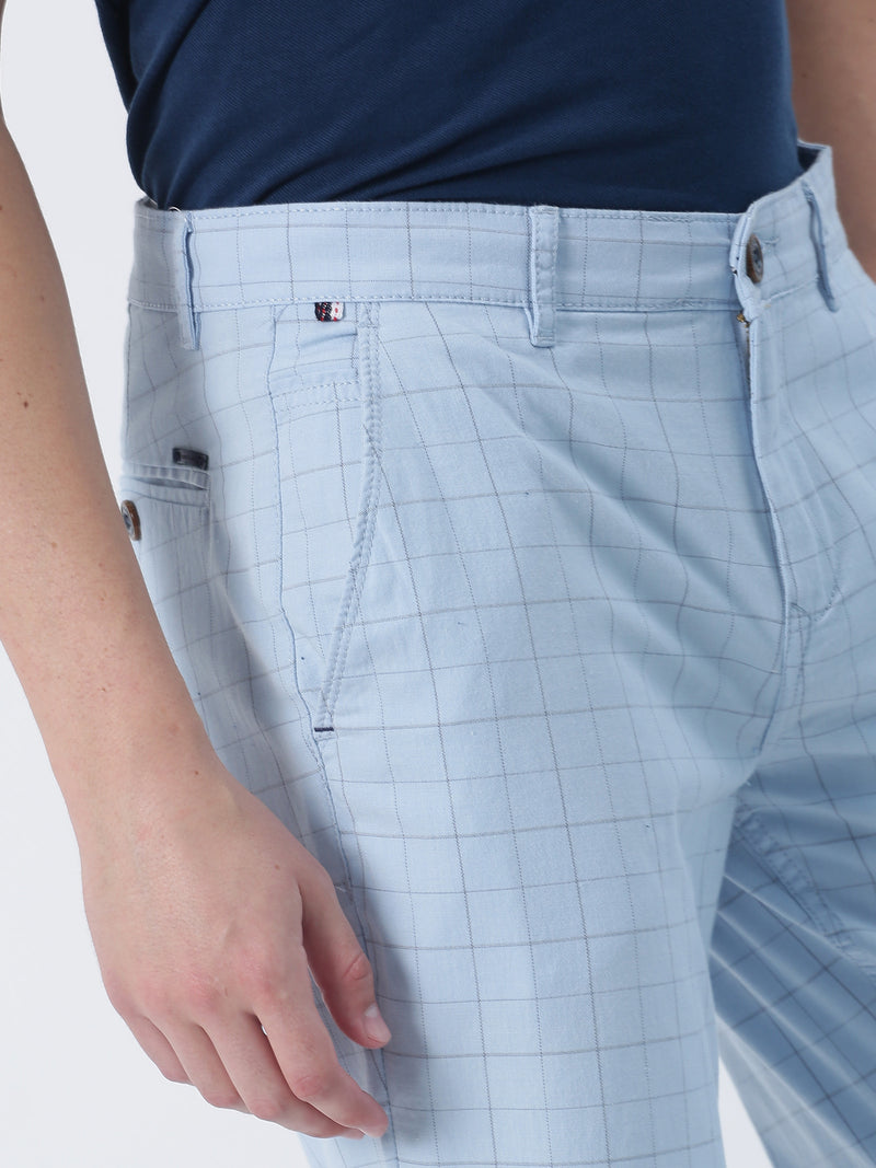 Sky Blue Checked Lean Fit Trouser