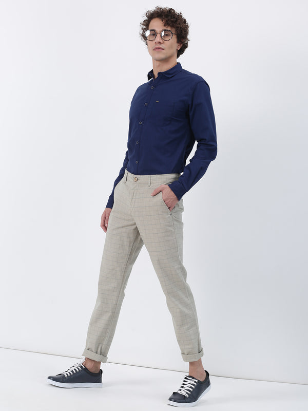 Khaki Checked Lean Fit Trouser