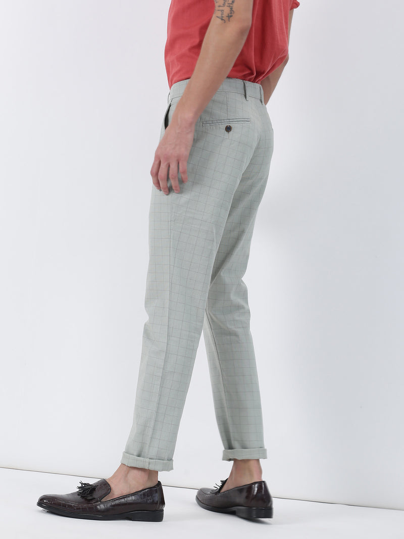 Green Checked Lean Fit Trouser