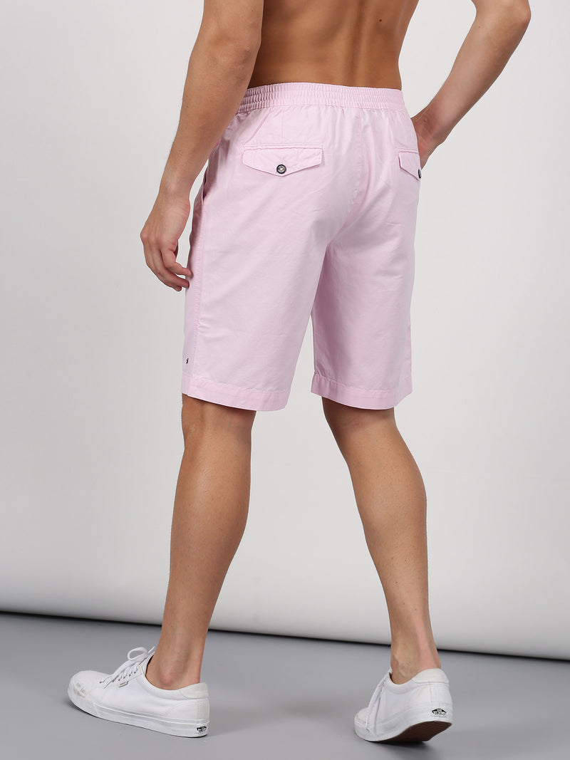 Pink Plain Casual Short