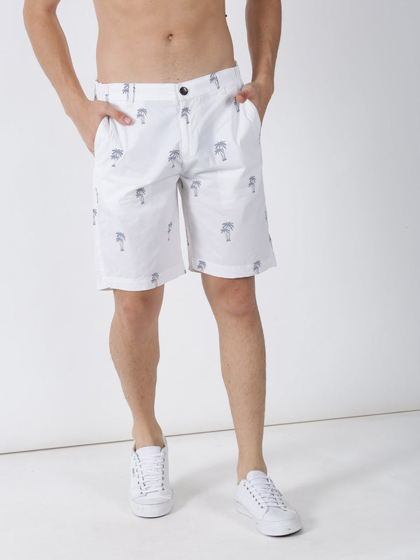White Printed Casual Short
