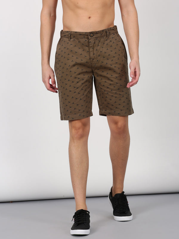 Olive Printed Casual Short