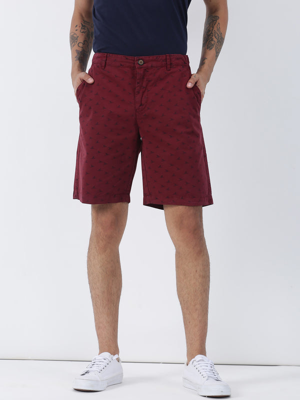 Maroon Printed Casual Short